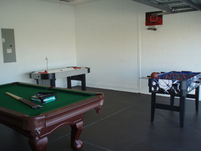The double garage has been turned into a games room with Billiards, Air Hockey, Table Football and Basketball.
