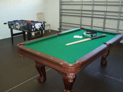 Billiard table in the games room.